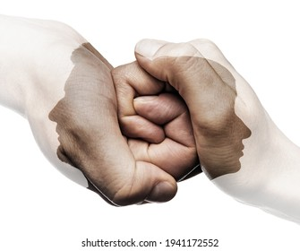 Multi exposure with silhouette of man and woman and their hands    are connected to each other. Image. Concept of love relationship, unity, parting.