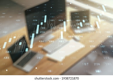 Multi exposure of stats data illustration and modern desktop with computer on background, computing and analytics concept