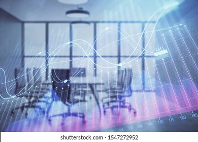 Multi exposure of stock market graph on conference room background. Concept of financial analysis - Shutterstock ID 1547272952