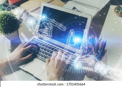 Multi exposure of technology hologram with man working on computer background. Concept of big data.