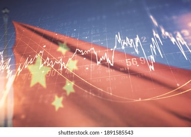 Multi exposure of virtual abstract financial diagram on flag of China and blue sky background, banking and accounting concept