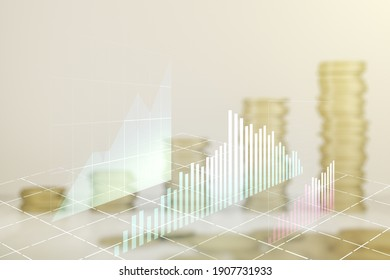 Multi exposure of virtual abstract financial diagram on growing coins stacks background, banking and accounting concept