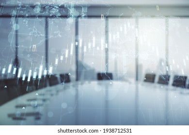 Multi exposure of virtual abstract financial chart hologram and world map on a modern meeting room background, research and analytics concept