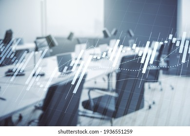 Multi exposure of virtual creative financial chart hologram on modern corporate office background, research and analytics concept