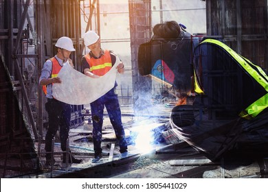multi exposure of welders who are welding structures and engineers who are supervising the construction as planned in construction site.