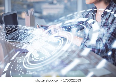Multi exposure of woman hands working on computer and data theme hologram drawing. Tech concept.