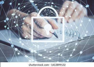 Multi exposure of woman's hands making notes with lock icon. Concept of security and protection of data
