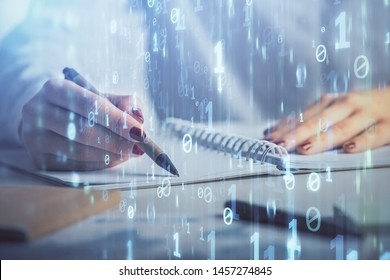 Multi exposure of woman's writing hand on background with data technology hologram. Concept of innovation.