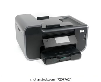 A multi function printer isolated against a white background