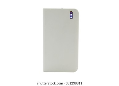 multi functional mobile battery pack in a white enclosure named as power bank with USB ports and LED display for power volume in charging of personal mobile terminals