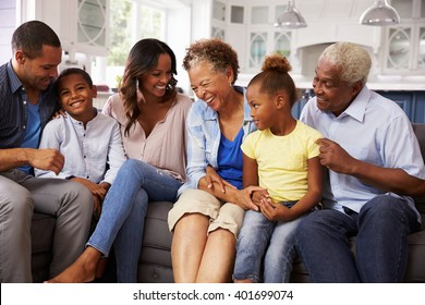 Multi generation black family at home