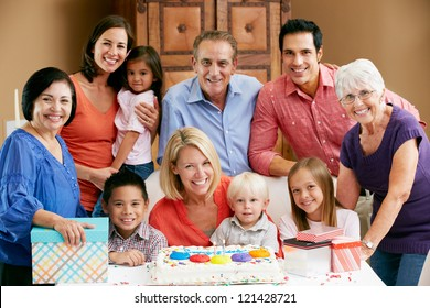 Multi Generation Family Celebrating Children's Birthday