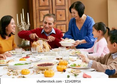 Multi Generation Family Celebrating Thanksgiving - Shutterstock ID 121428916