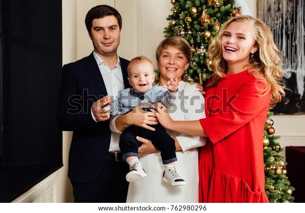Multi Generation Family Group Portrait On Stock Photo (Edit Now