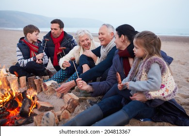 Multi Generation Family Having Barbecue On Winter Beach