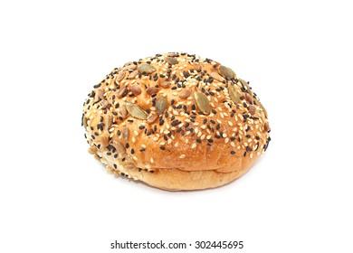 multi grain buns isolated on white