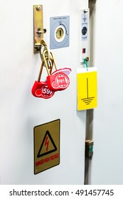 multi or group Lockout Tagout , Electrical safety system separated power or energy from electrician or worker.