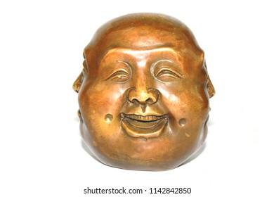 Multi headed Bronze Tibetan Buddha Head Statue on White Background