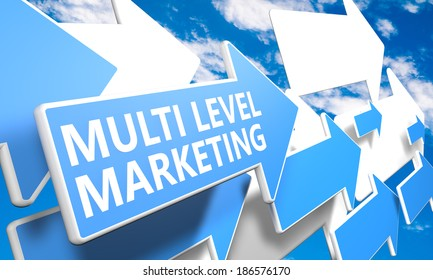 Multi Level Marketing 3d render concept with blue and white arrows flying in a blue sky with clouds