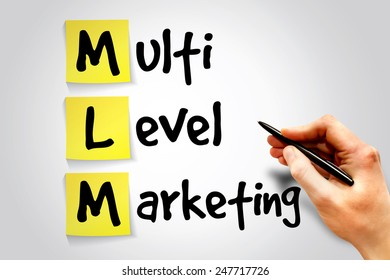 Multi level marketing (MLM) sticky note, business concept acronym
