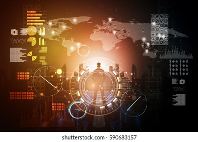 Multi media of Business man back and digital graphic screen, business concept.