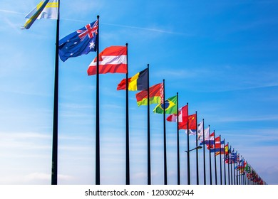 Multi National Flags in Blue sky
