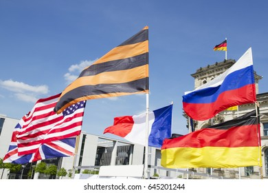 Multi nations flags in front of the parliament in Berlin, Germany