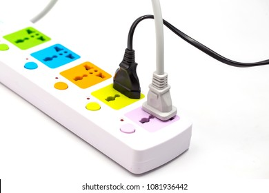 Multi plug electrical power strip isolated on a white background
