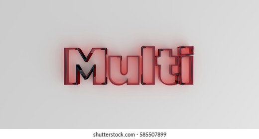 Multi - Red glass text on white background - 3D rendered royalty free stock image.