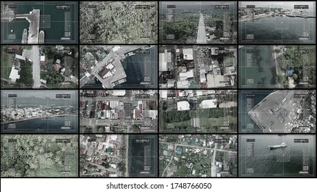 Multi screens, show us the top view of a small Asian city. CIA and cctv concept