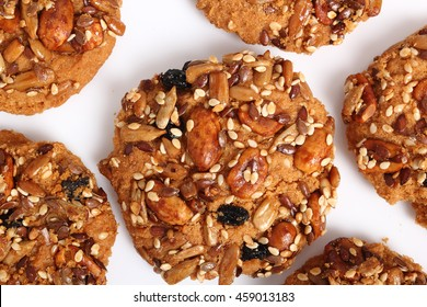 Multi seed cookies. Isolated on white background. Directly Above.