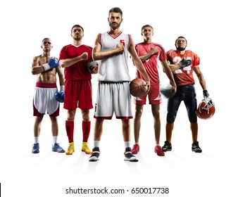 Multi sport collage boxing soccer american football volleyball bascketball