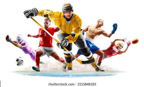 Multisport-Collage Fußball-Boxen-Fußballhockey auf weißem Hintergrund