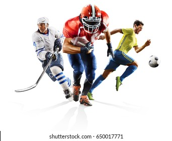 Multi sport collage soccer american football ice hockey