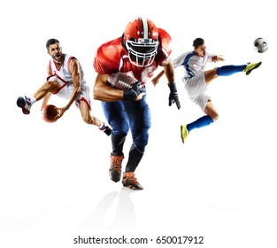 Multi sport collage soccer american football bascketball