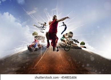Multi sports collage gokarting basketball bmx batut karate