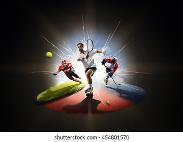 Multi sports collage from tennis hockey American football