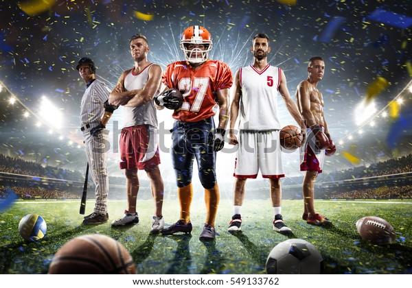 Varios jugadores deportivos orgullosos compiten en la gran arena