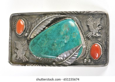 A multi stone belt buckle on silver from the Southwest USA