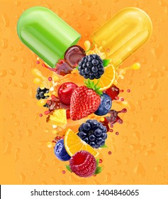 Multi vitamins supplements minerals capsule pill with orange, blackberry, strawberry, raspberry, blueberry, cranberry juices blend 3D splash with fruits, berries complex. Natural medicine nutrient