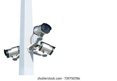Multi-angle CCTV system isolated on the white background cipping path