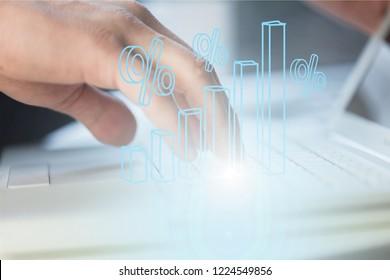 Multichannel online banking payment communication network digital technology via internet wireless application development ctr mobile smartphone apps: Business woman/ man holding smart phone icon flow