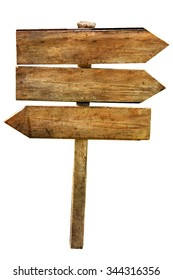 Multichoice crossroad wooden directional arrow signs isolated