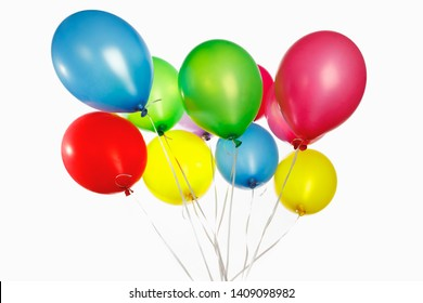 multicolor air balloons bunch on white background