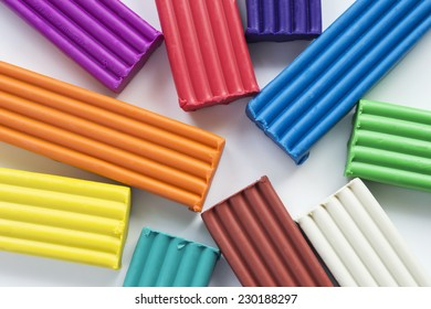 Multicolor blocks of modeling clay as a background