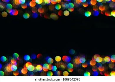 Multicolor bokeh hexagon background illumination garland decoration