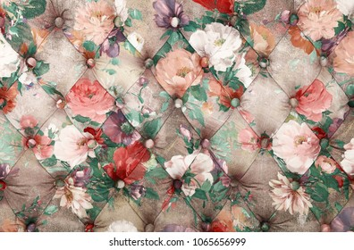 Multicolor capitone textile background with floral pattern, retro Chesterfield style soft tufted fabric furniture upholstery diamond pattern decoration, close up