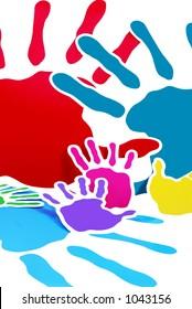 Multicolor cardboard handprints on white background.