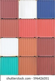 Multicolor of Cargo container stack at container yard area