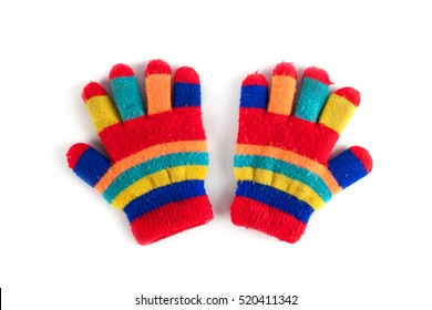 Multicolor children's gloves isolated on white background